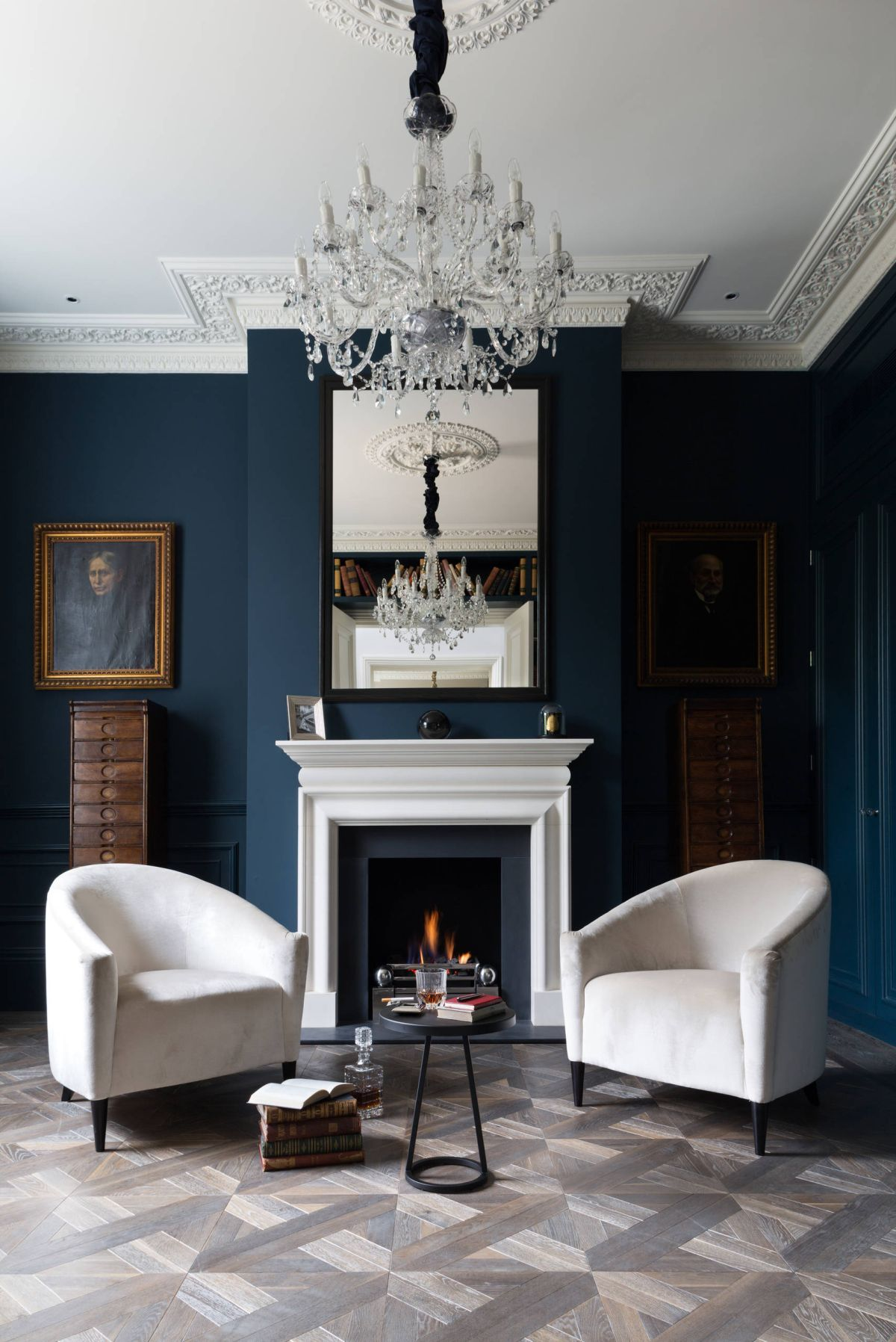 Victorian living room dramatic navy blue