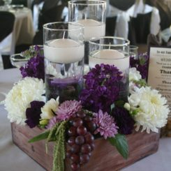 Wooden box centerpiece table decor