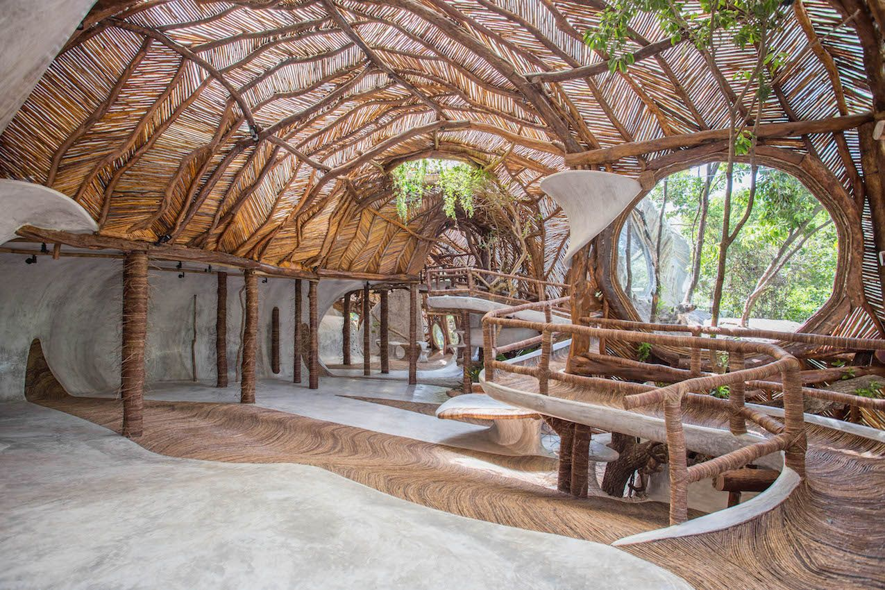 Indigenous materials were used for the construction.