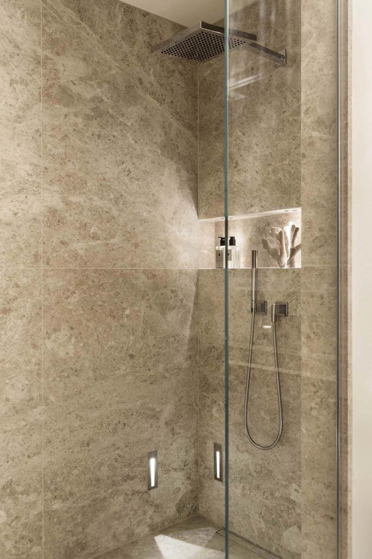A modern shower design makes the most of the bathroom space.