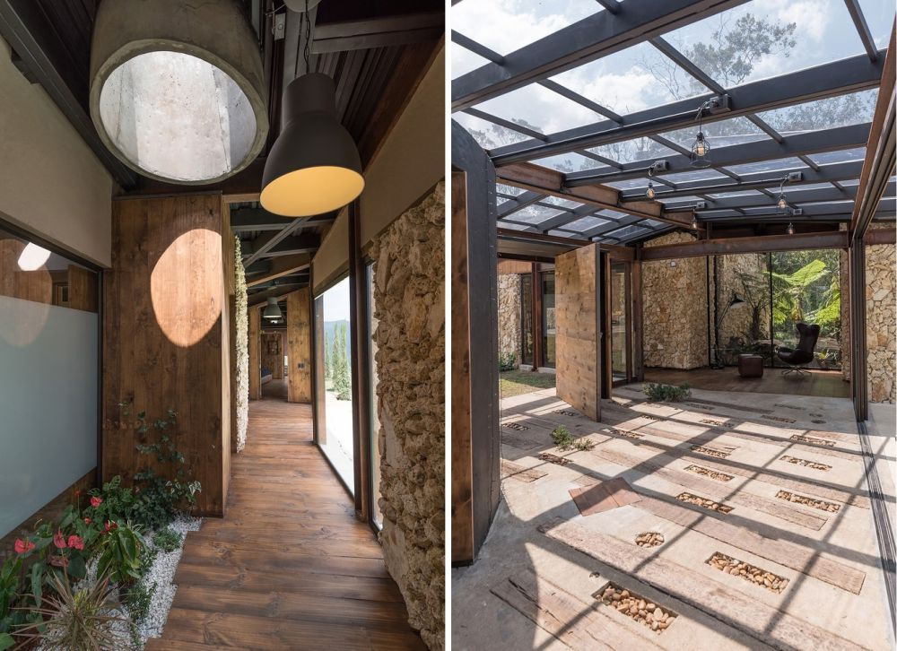 The transitional spaces have their own way of being special. The skylights and the light sources are one example