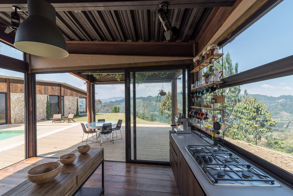Beautiful views of the valley can be enjoyed from the kitchen which has these large horizontal windows that also let in lots of sunlight