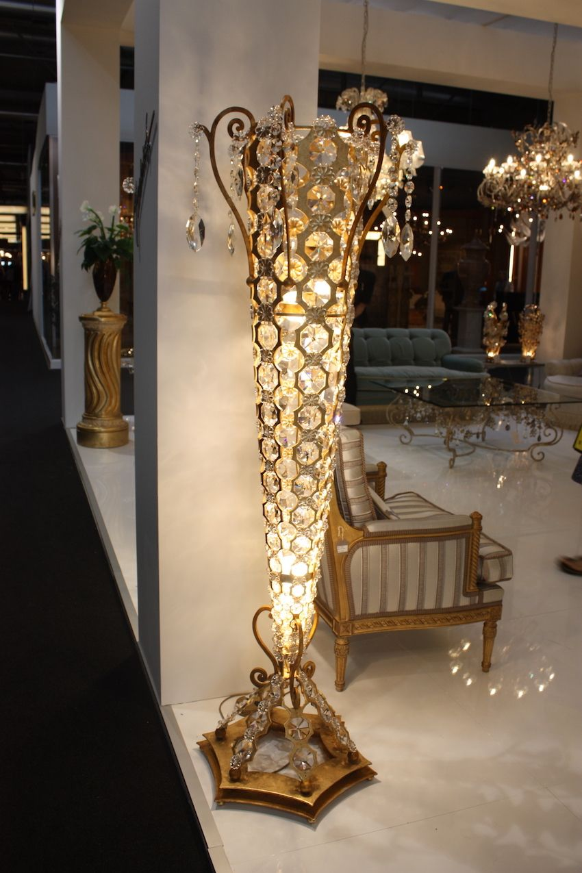 Mechins floor lamp is a bit glitzier but has the right shape and accent motifs.