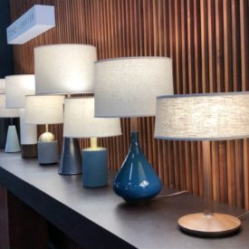 Table lamps with a modern blue shade base