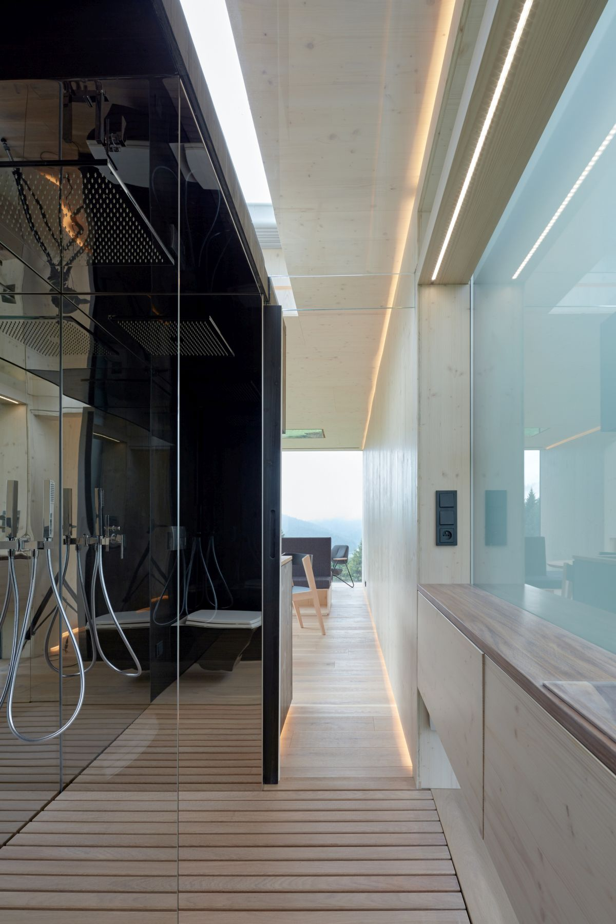 The bathroom is another section of the cabin. It's as stylish and as elegant as the rest of the spaces