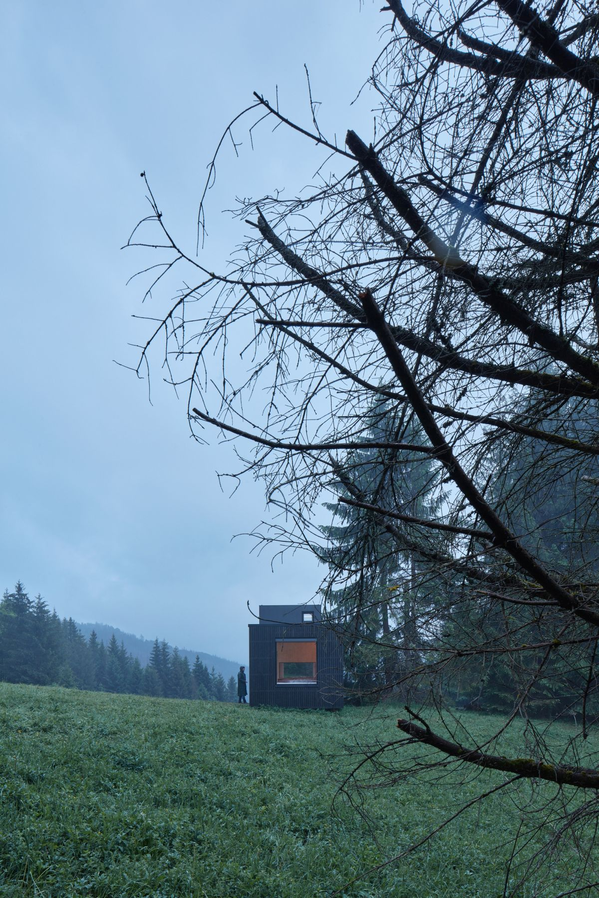 The minimalist and modest exterior design allows the cabin to better blend in with nature