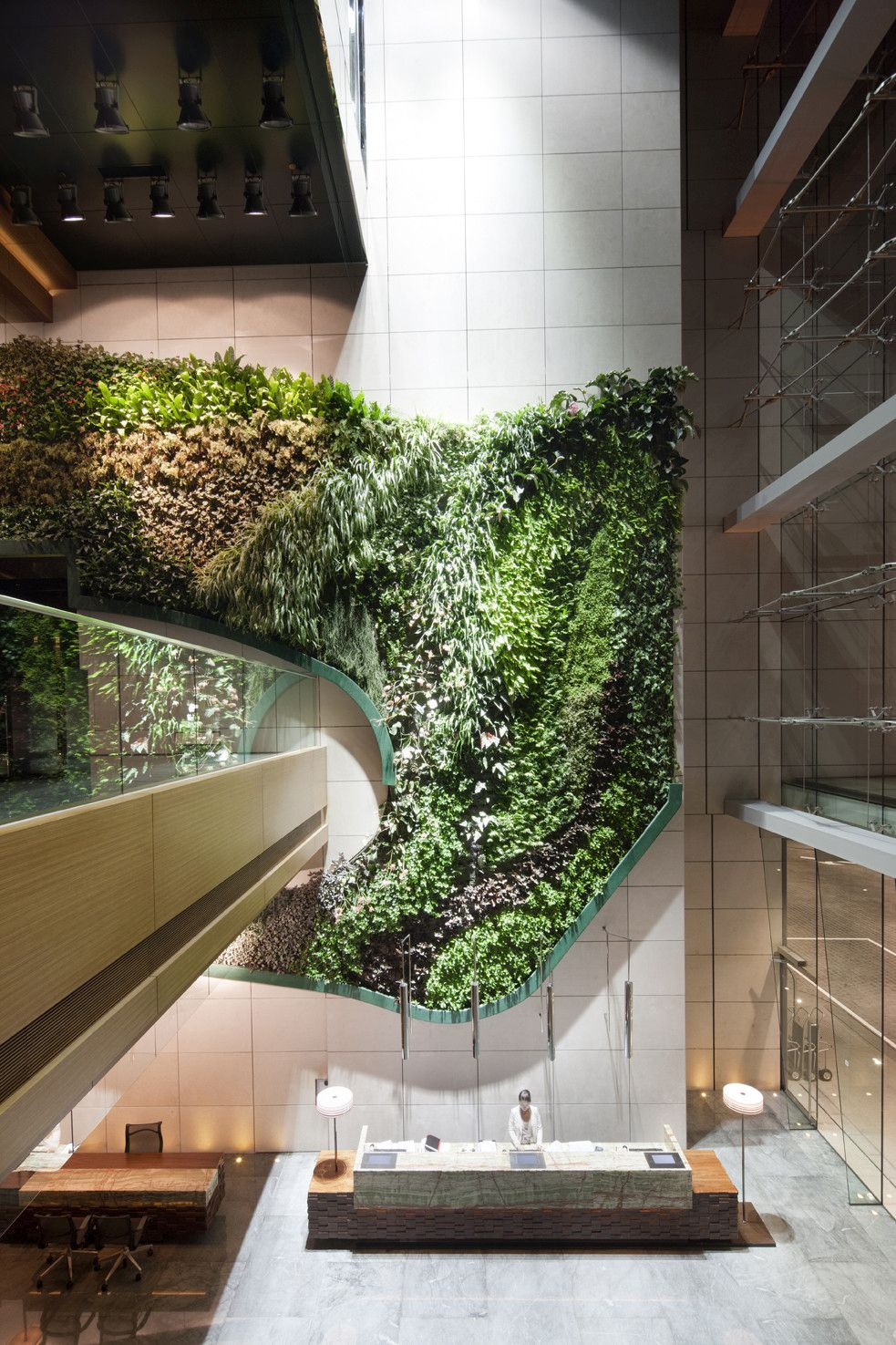This swirling green wall by Rocco Design Architects is at the ICON teaching hotel of the PolyU in Hong Kong.