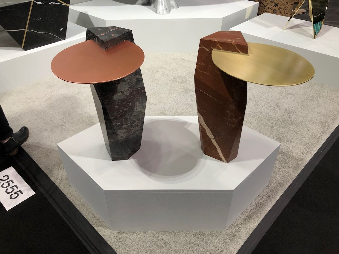 More than a dozen different stone choices are available for the table base.