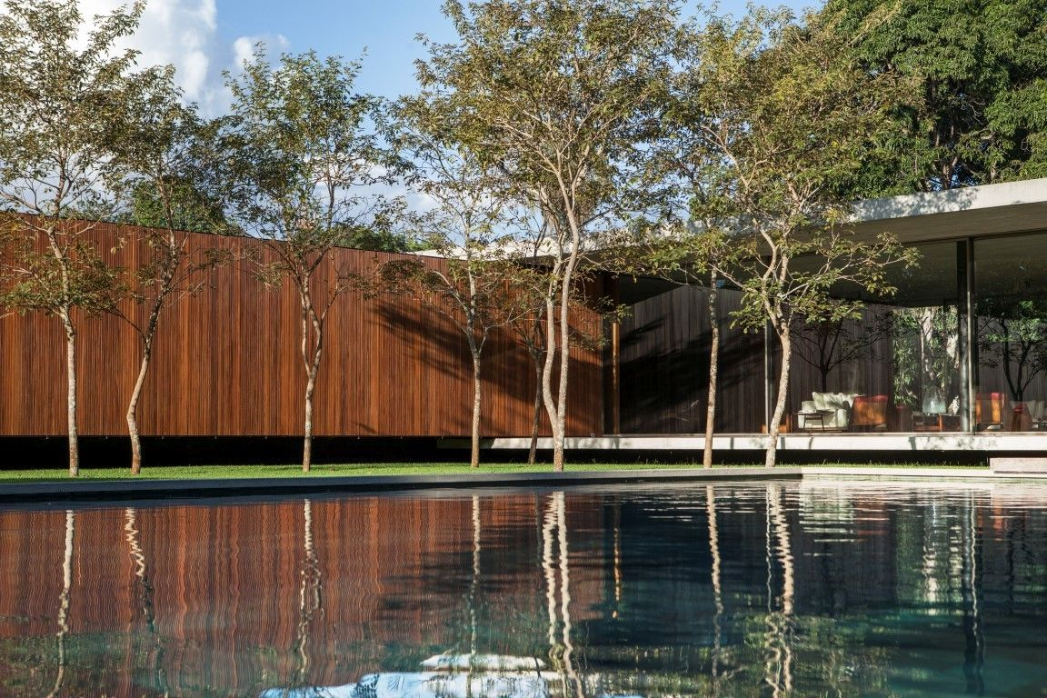 The pool adds a tranquil and serene vibe to the property and helps to also give the house a timeless look