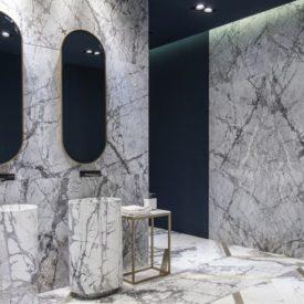 Modern bathroom in full Carrara Marble