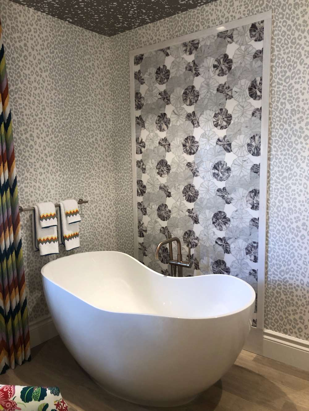 Porcelain tiles, especially those with a distinctive pattern, can be a focal feature in a bathroom.