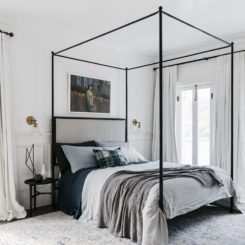 Monder monochromatic bedroom decor with canopy bed