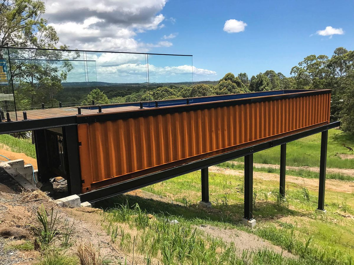 These container pools come in two sizes and this is the large version, being 12 meters long