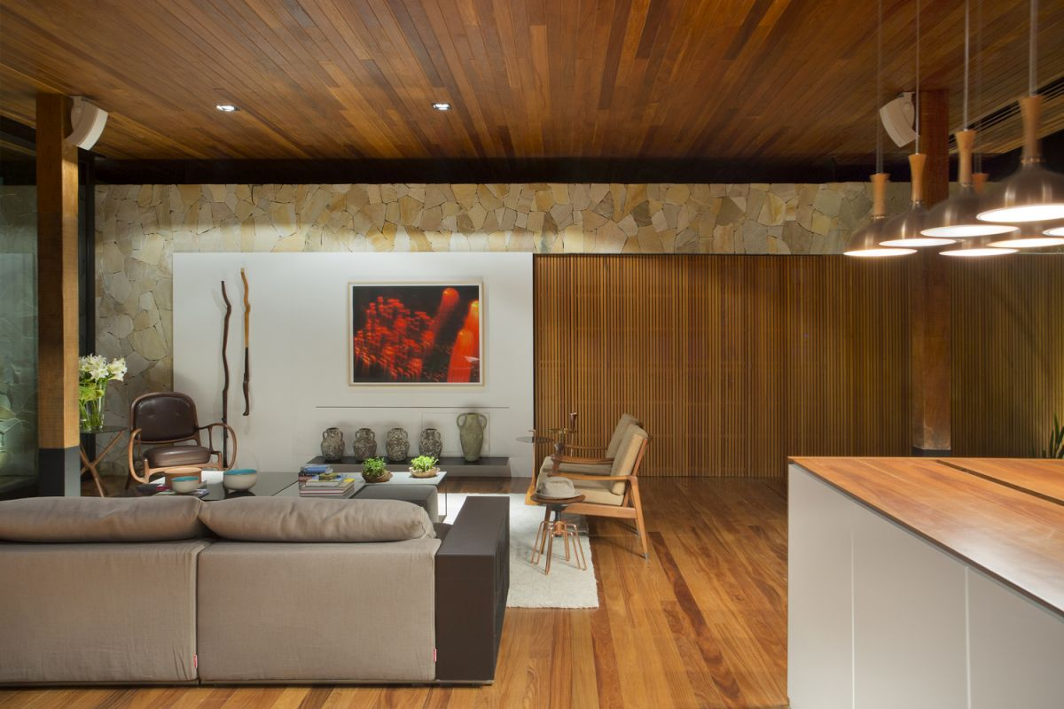 Simple And Natural Materials Such As Wood And Stone Are Used Throughout The  House In Combination