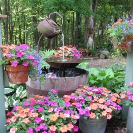 Rustic water feature for backyard