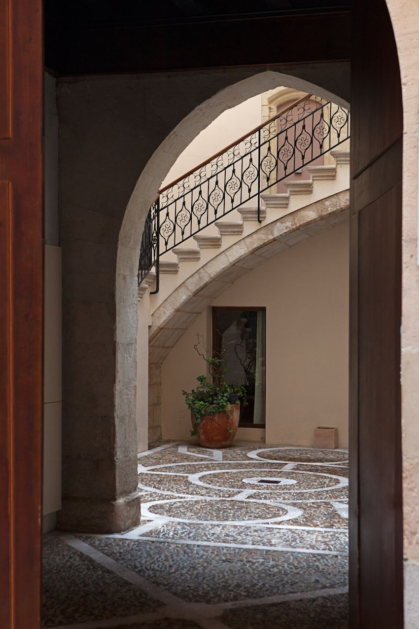 traditional Moorish features characterize the exterior of the old building.