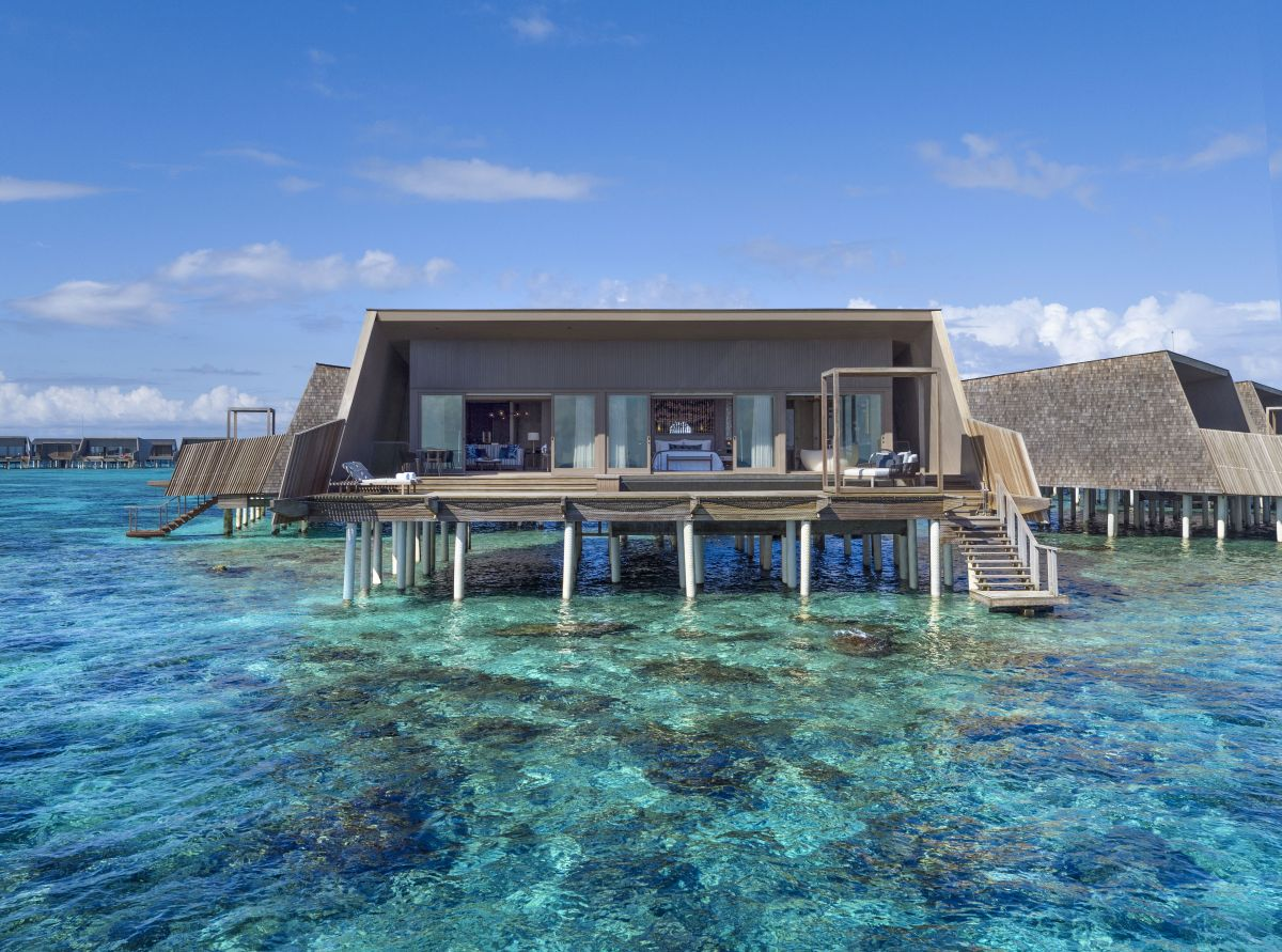 The villas that sit on stilts over the water look a bit like manta rays, yet another reference to nature
