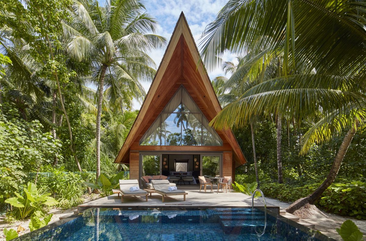 Each of the 77 villas has its own private pool. Some of the villas are surrounded by greenery and some by water