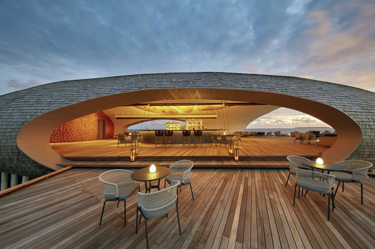 The sunset bar is reminiscent of a whale shark-s shape and proportions