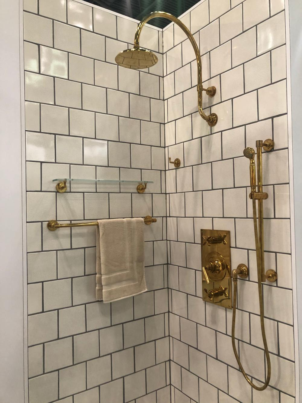 This shower by Waterworks has a classic look that will never go out of style.