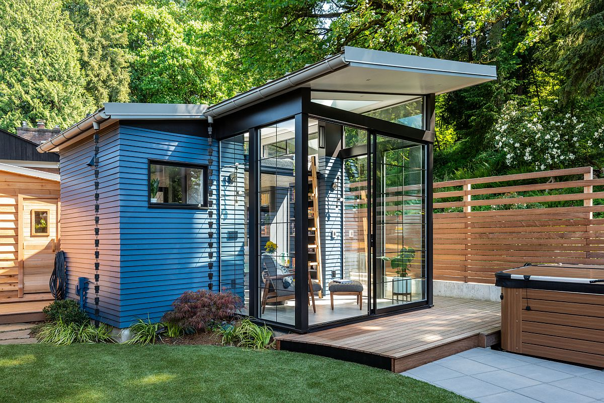This structure is a shed with a modern twist which makes it stand out in a refined and elegant manner