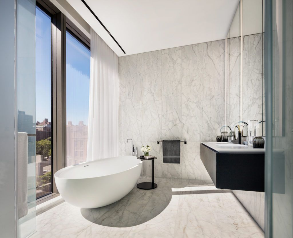 The master bathroom is luxurious in its minimalism.