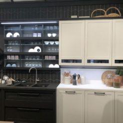 Black and white kitchen cabinet design