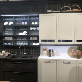 Black and white kitchen cabinet design