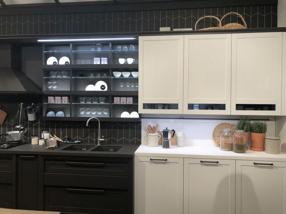 Image result for two tone black kitchen cabinets