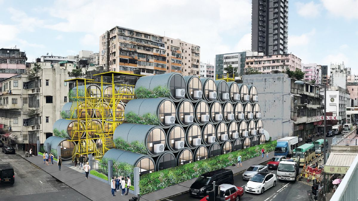 These concrete pipe homes can be stacked on top of one another and structures similar to apartment buildings can be created