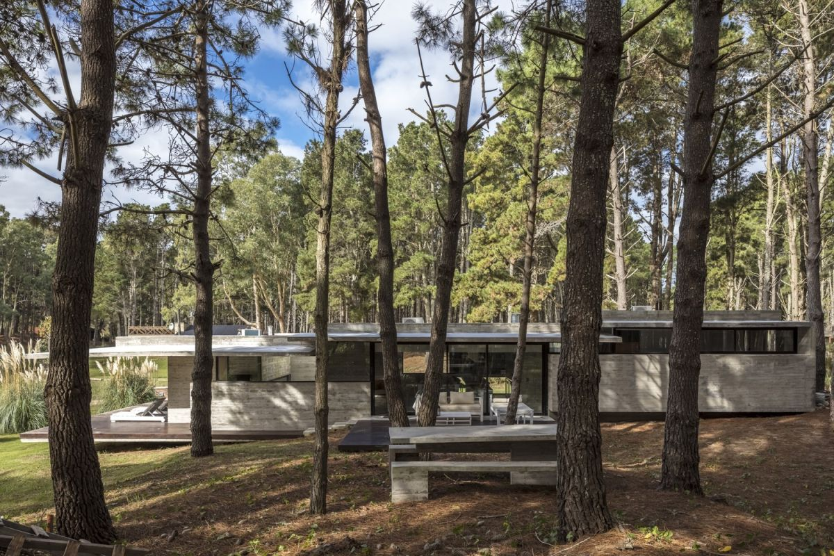 The site is partially populated with trees and was designed to take advantage of the landscape