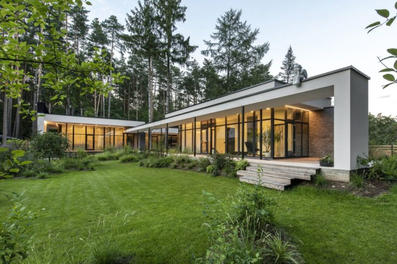 A Serene House Lets Pine Trees Grow Through Its Decks and Roofs