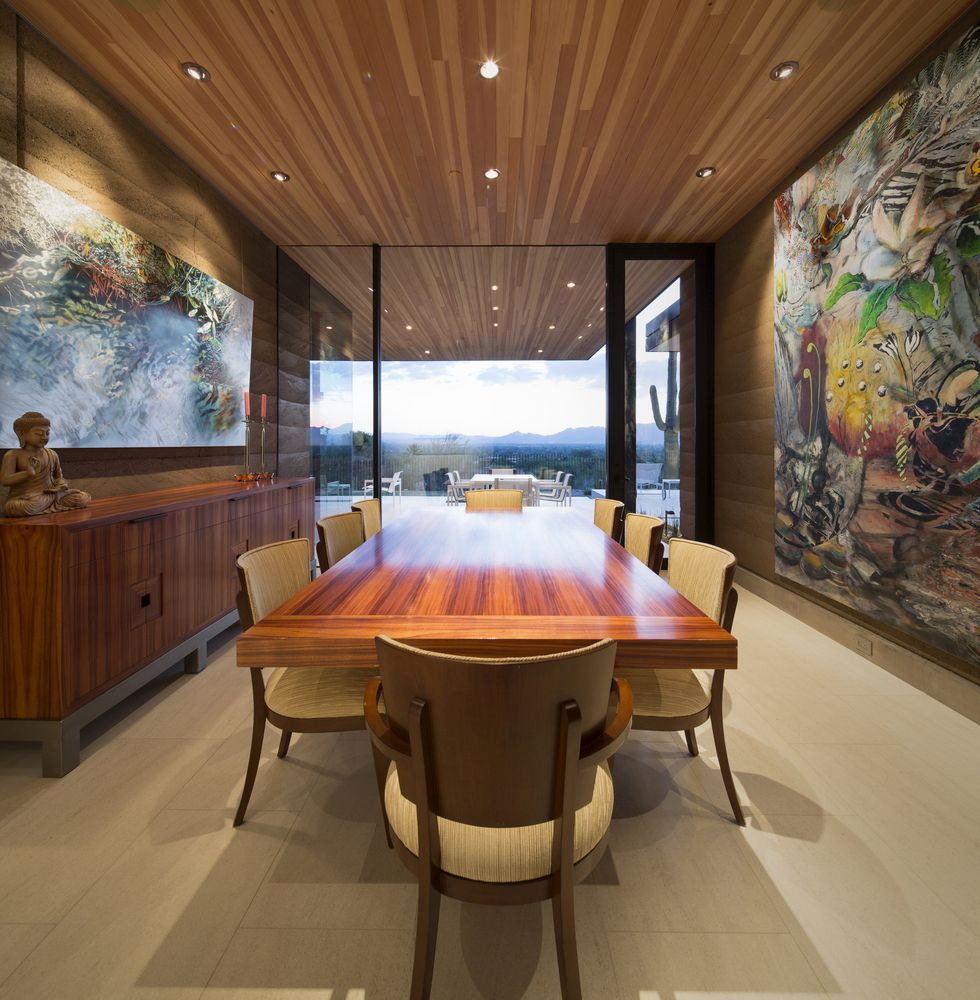 Special attention was given to the artwork which adorns the walls in the dining room