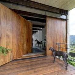 House in Guatemala with large pivot door by Paz Arquitectura