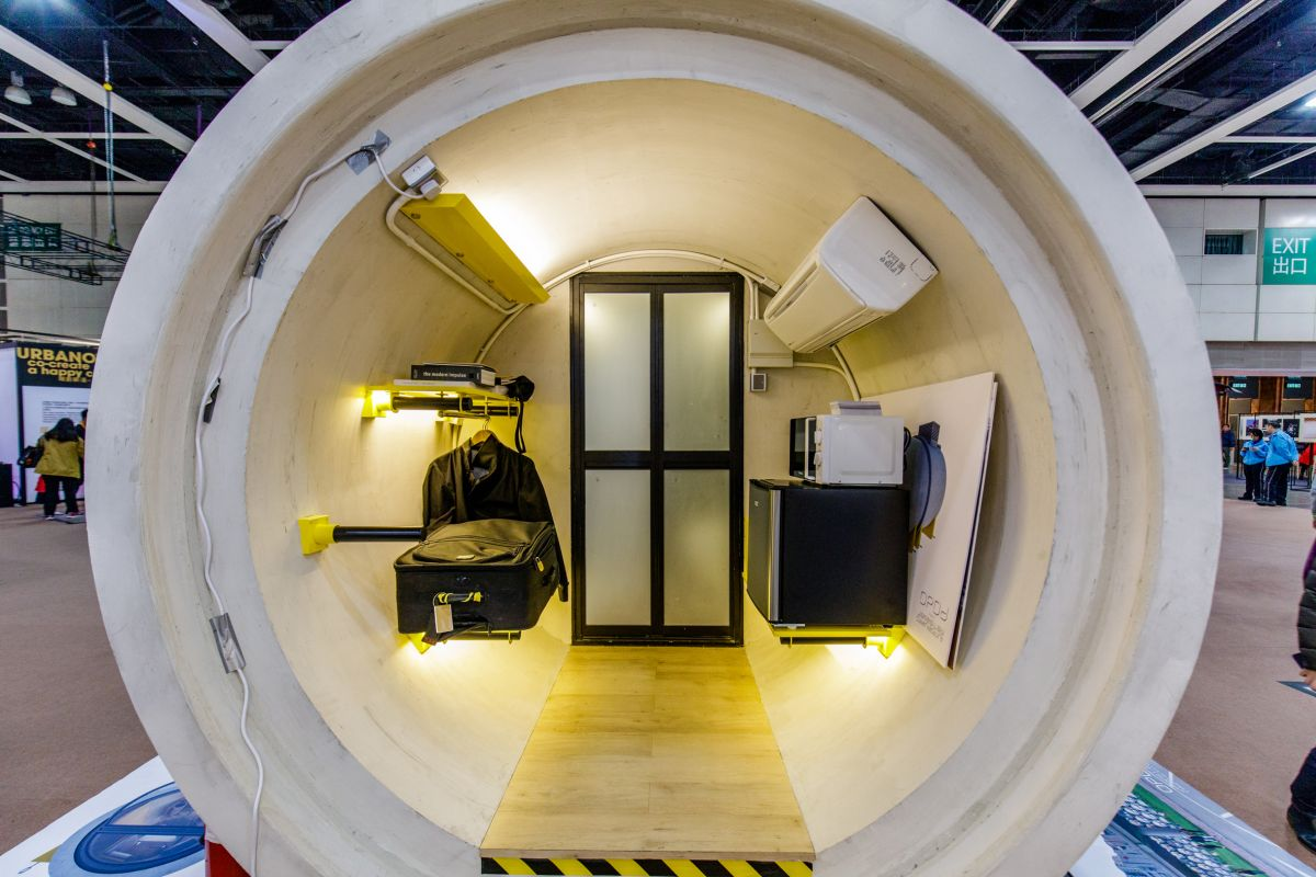 A typical OPod includes a living space, a small kitchen station and a bathroom compartment at the rear