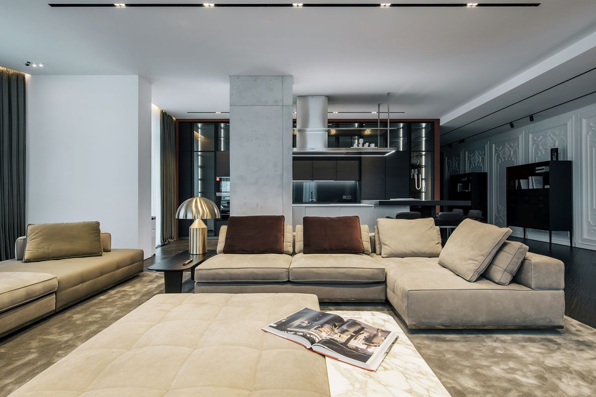 Luxury Apartment With A Sophisticated And Dramatic Interior Design