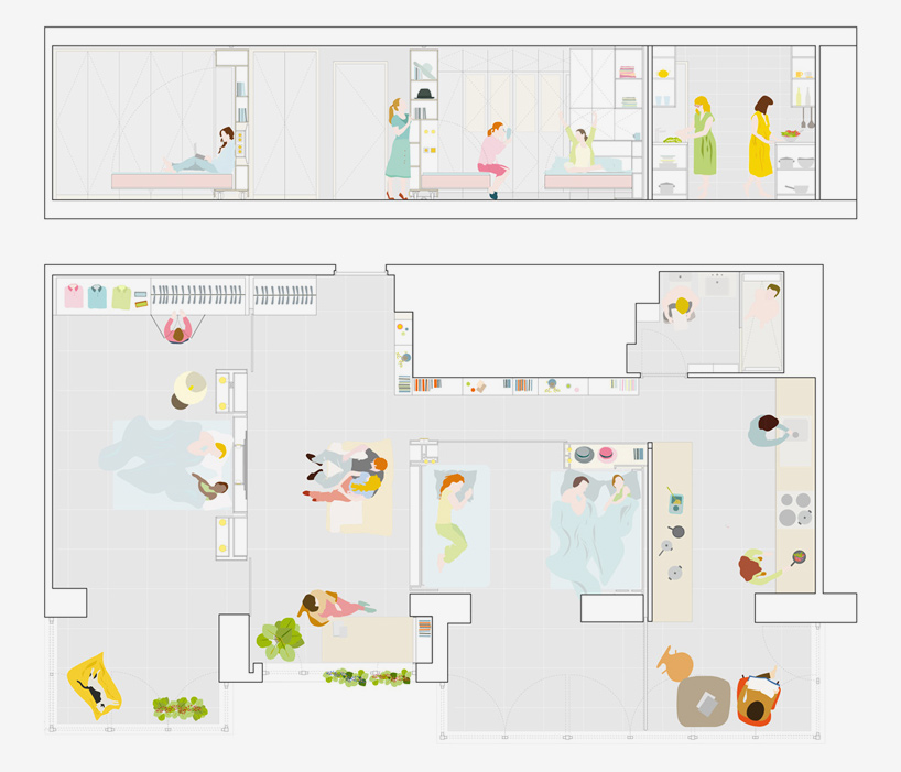 Thanks to the ingenious moving wall idea, the same space can serve multiple functions and purposes