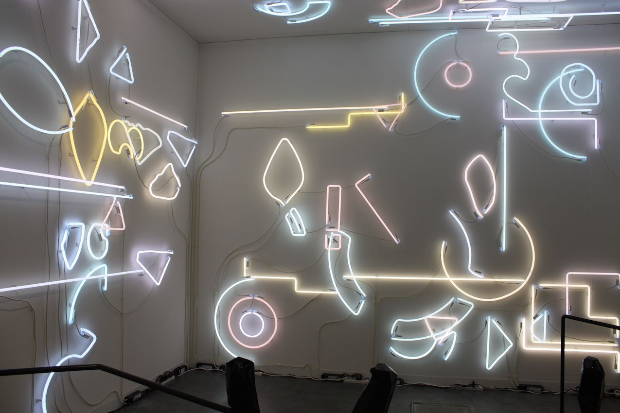 A neon installation like this is best in a dark room.