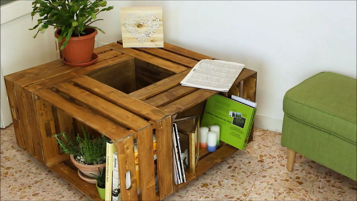 Rolling Coffee Table With Crates