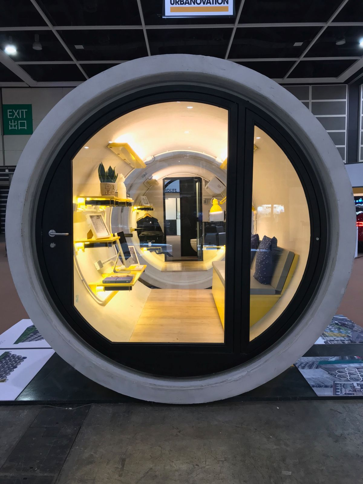 A flat wooden floor is installed inside the pod to make moving around easier and to provide a more stable surface for furniture