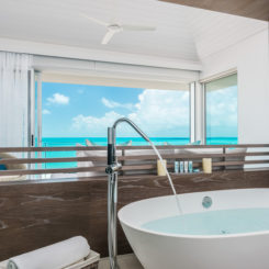 Soaking tub with beach view