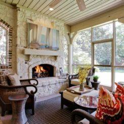 Stone rock fireplace surround
