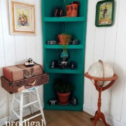 Window shutters corner shelf