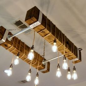 Wood beam industrial chandelier