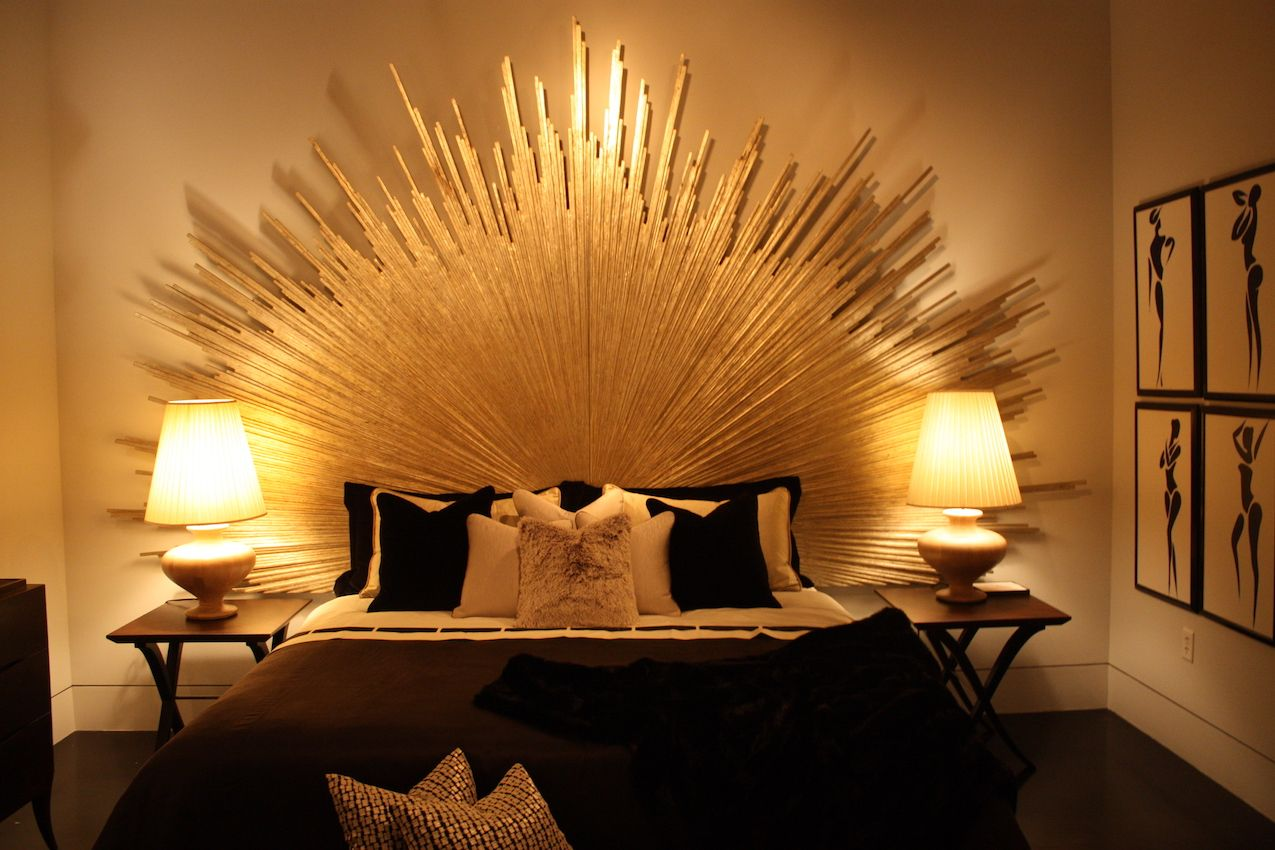 Sunbursts are a common motif in art deco furniture. The bed is by Christopher Guy.