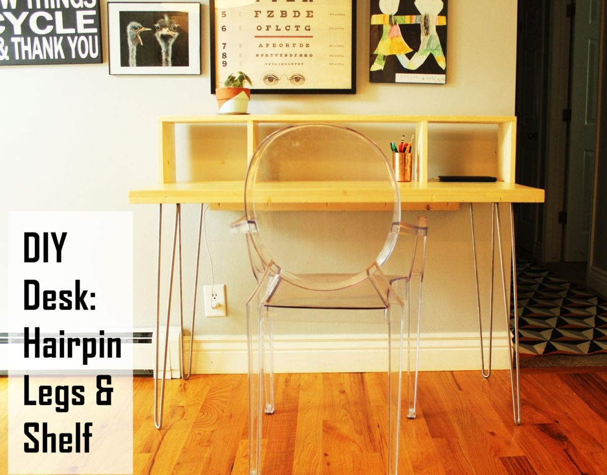 Contemporary Desk with Shelf and Hairpin Legs