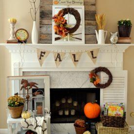 DIY fall mantel decor