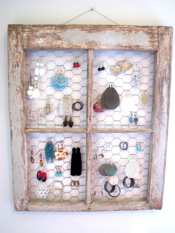 Distressed window frame jewelry holder