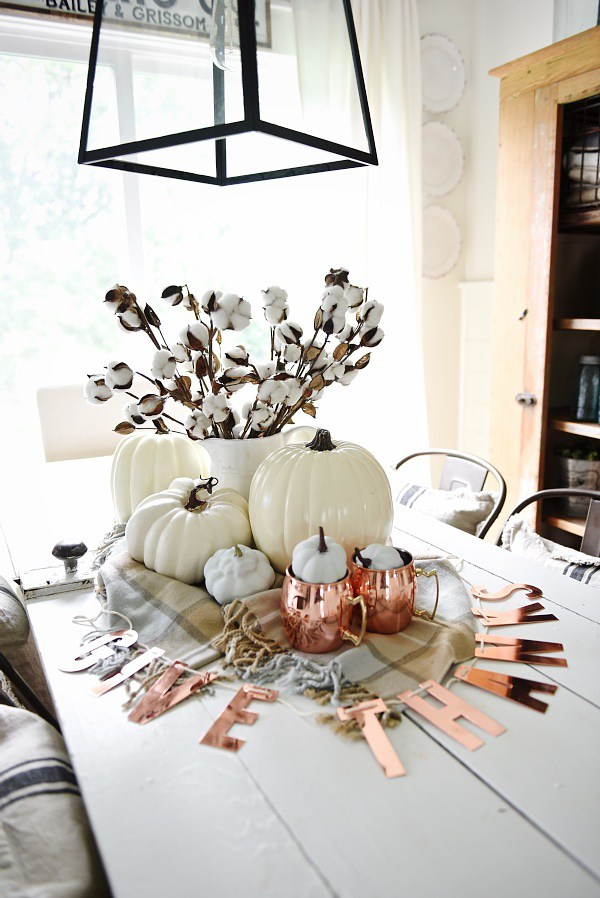 White and Copper Fall Table Display