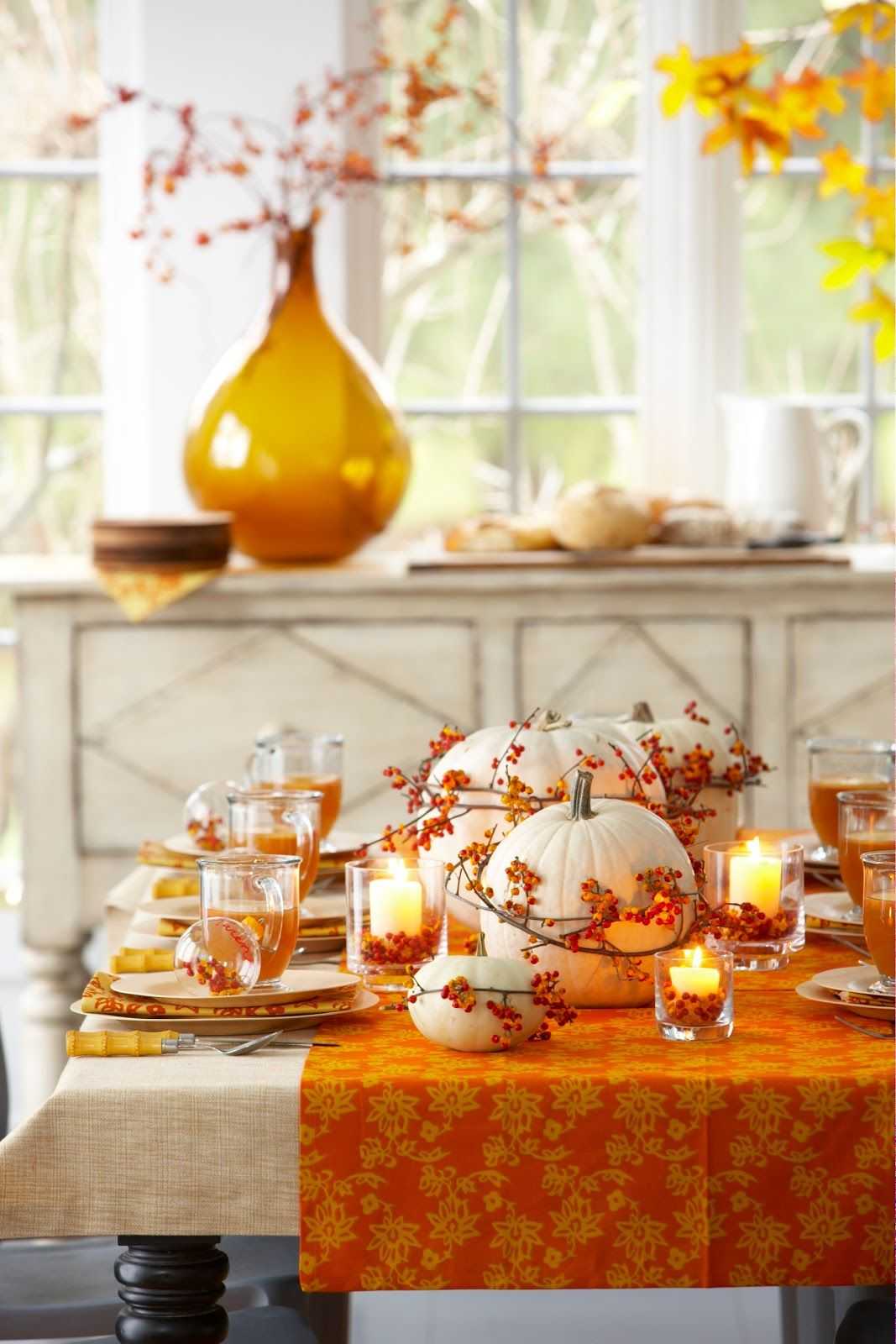 White Pumpkin Table Runner with Twigs and Berries